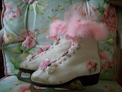 christmas,holiday,shabby,cottage,roses,chic,pair ice skates 1 | by stephanies cottage!