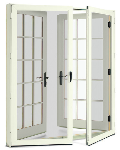 Integrity wood ultrex inswing french door white exterior for Double storm doors for french doors