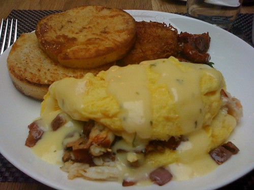 ... Crab Omelette with smoked bacon, english muffins, fried potato hash