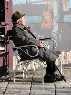 Elderly Man Soaks Up the Sun along the Danube - Pest Side - Budapest - Hungary | by Adam Jones, Ph.D. - Global Photo Archive