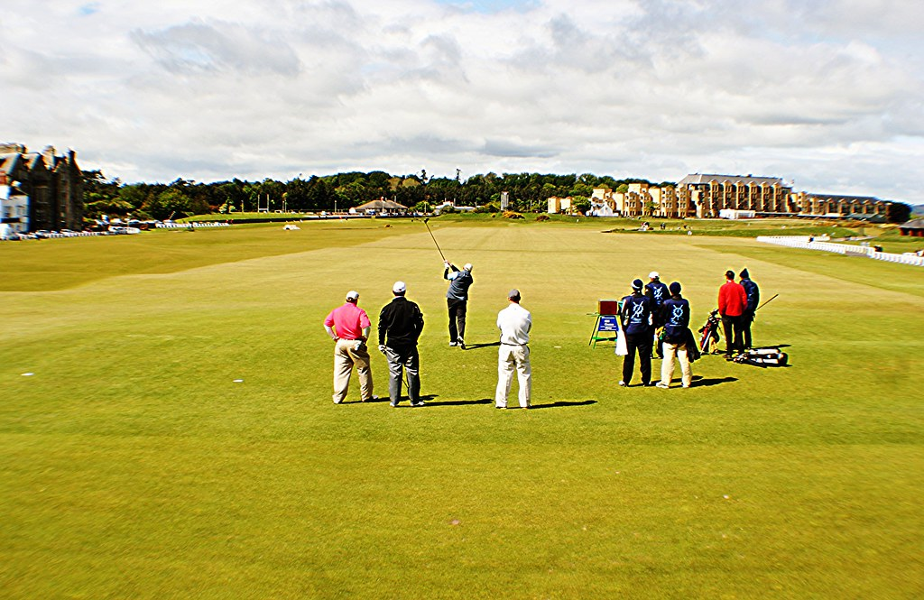 Golfers at Old Course, St Andrews, Scotland