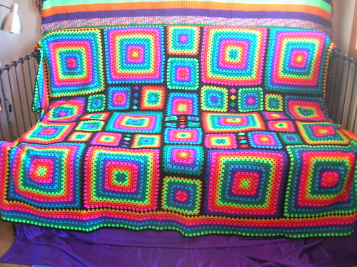 Free Crochet Mosaic Afghan Pattern : Irregular Rainbow Mosaic Crochet Afghan Flickr - Photo ...
