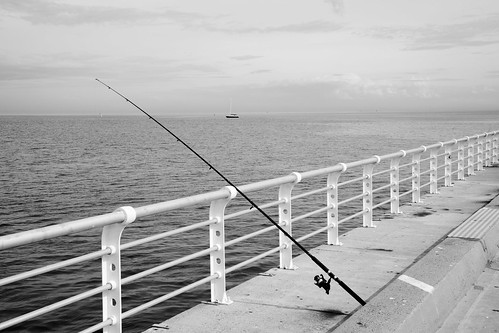 Fishing off St Kilda Pier - B&W | by Ryk Neethling