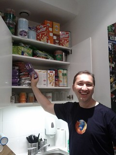 Pascal and the Mozilla Paris office treat cupboard | by lukasblakk