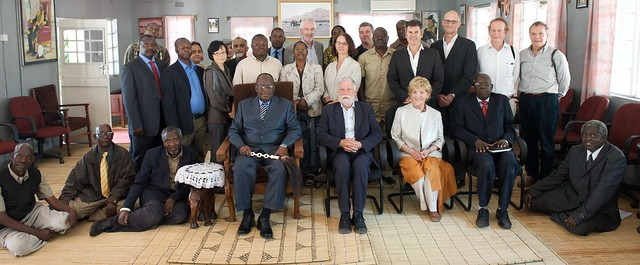 The Program Oversight Panel and program staff meet with His Majesty the Litunga, Zambia. Photo by Patrick Dugan, 2012.