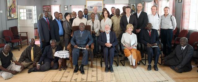 The Program Oversight Panel and program staff meet with His Majesty the Litunga, Zambia. Photo by Patrick Dugan, 2012.