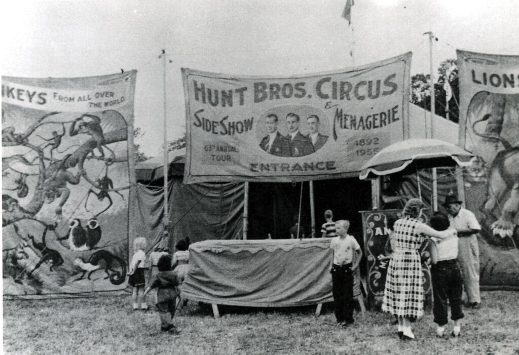 Hunt Bros. Circus side show about 1955