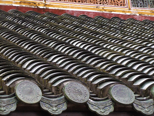 Roof Tiles on Minh Mang Royal Tomb in Hue, Vietnam