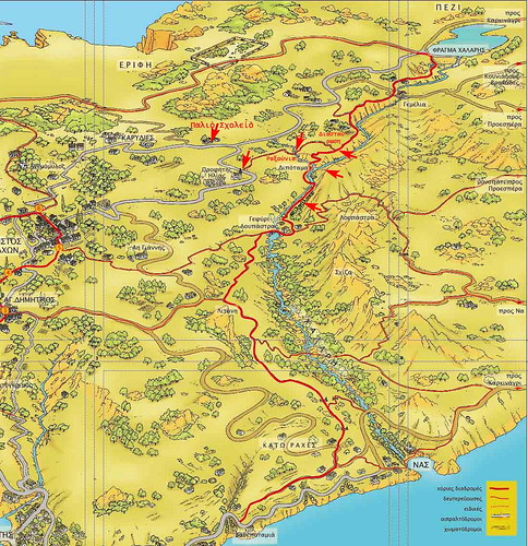 Chalares river map: it represents a vast eco-tour project ongoing in Ikaria island Greece since 1996