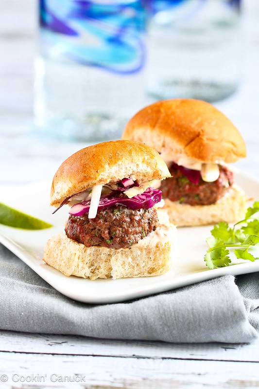 ... Lean Grilled Hamburger Sliders with Hot Sauce Slaw by Cookin' Canuck