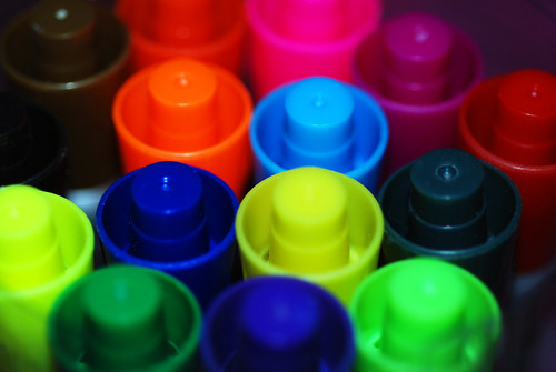 Coloured Pen Lids | by incurable_hippie