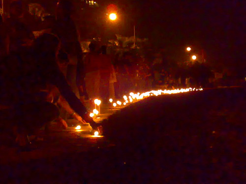Placing the candles on Carter Road | by Robin Jacob Abraham