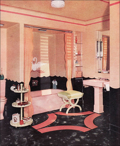 1940 armstrong bathroom with pink swans flickr for Bathroom designs 1940s