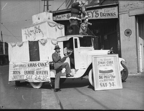 Enmore Theatre lorry - free Christmas cake to each child, Sat. matinee 24 Dec 1938 / by Sam Hood