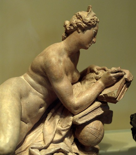 "Detail, Giambologna's ""Woman Reclining and Writing (Geometry and Astrology)"" (London, Engand) 