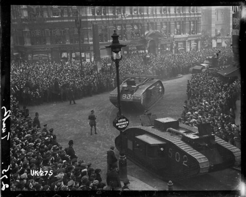 Tanks on parade in London at the end of World War I, 1918 | by National Library NZ on The Commons