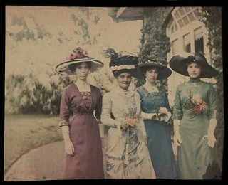 Mary Gullick, Zoe Gullick, Marjory Gullick, Chloe Gullick - outside Altoncourt, Killara? c.1909 from Gullick family, c.1909-1922 / photographed by William Applegate Gullick | by State Library of New South Wales collection
