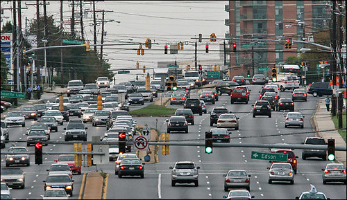 Rockville Pike, looking north, which Montgomery planners want to transform into a network of urban villages.