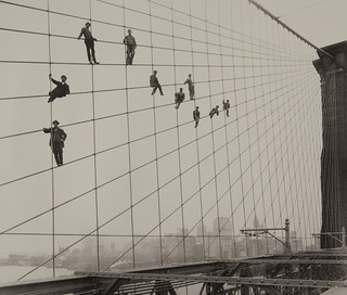 Painters on the Brooklyn Bridge Suspender Cables-October 7, 1914 | by Museum of Photographic Arts Collections