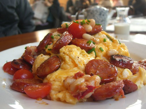 Scrambled Eggs with Chorizo, Cannelini Beans, Cherry Tomatoes - The Maling Room | by avlxyz