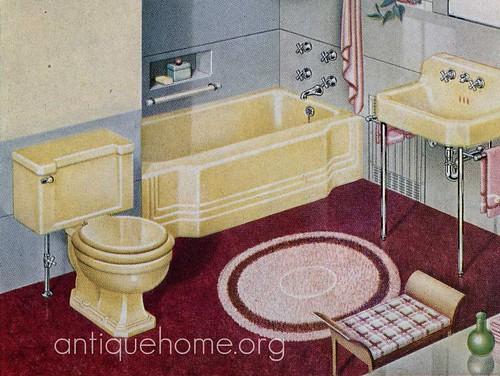 Brilliant VintageorangeandyellowbathroomCranefixtures