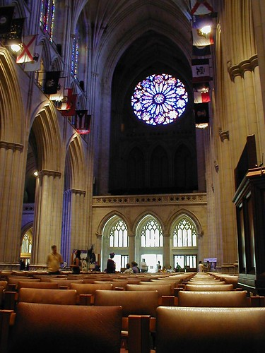 West rose window & state flags in the National Cathedral, Washington DC, July 4, 2002 | by Chris Devers