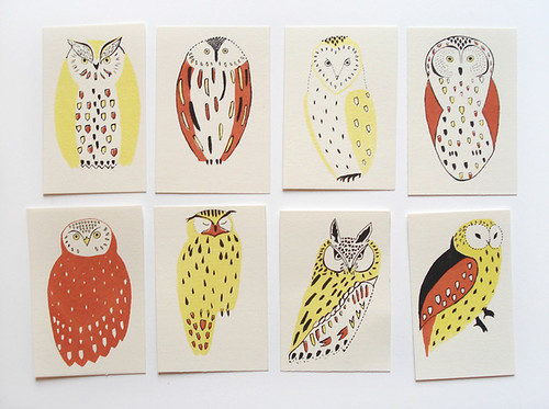 Owl Screen Printed Cards by Hannah Waldron | by the little dröm store