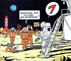 Tintin and friends greet Armstrong | by Daniel Bowen