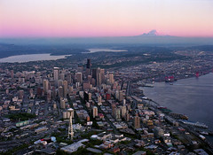 Aerial of downtown and Mount Rainier at sunset, 2000 | by Seattle Municipal Archives