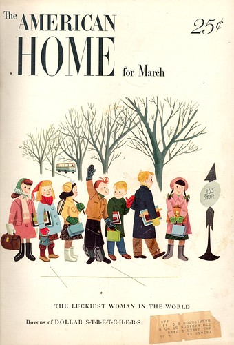 Cover, American Home Magazine, March, 1949, children at a school bus stop