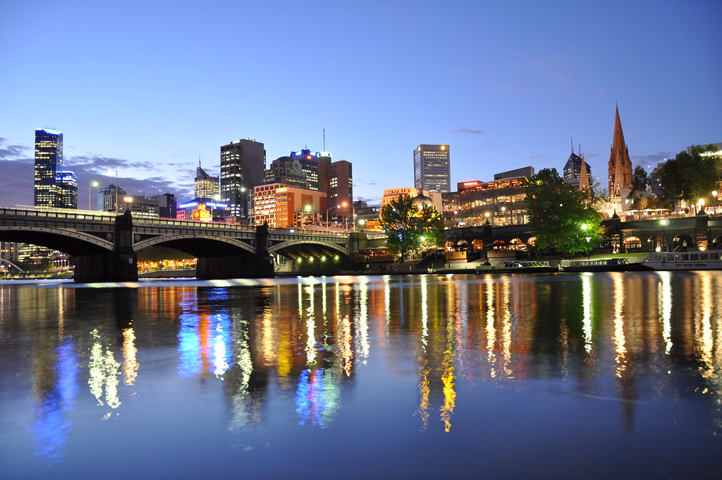 Princes Bridge, Flinder Street Station, Federation Square, St. Paul's Cathedral and Melbourne