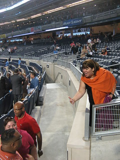 "The controversial ""moat"" separating the Legends Suite seats and the Field Level seats at Yankee Stadium as seen from the first row of the Field Level following the conclusion of the Joel Osteen ""Night Of Hope,"" 04/25/09 