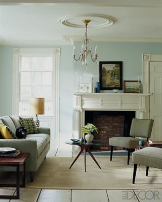 Robin's egg blue + creamy neutrals in midcentury modern living room, featured in Elle Decor | by SarahKaron