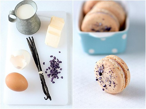 Violet-Vanilla Buttercream and Violet Macarons | by tartelette