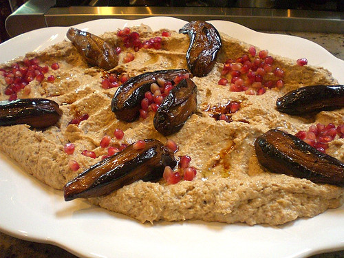 "Eggplant with Tahini sauce and pomegranate ""Baba Ganoush"" 