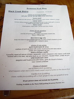 Black Creek Bistro Restaurant Week 2009 Menu | by swampkitty