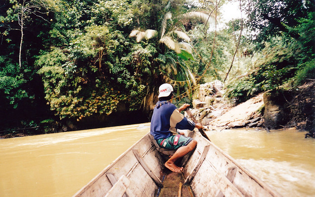 Longboat on Sungai Kelian