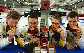 Team Manitoba show off their medals and trophy after their win at the men's final. (L-R) Manitoba skip, Braden Calvert, Manitoba third, Kyle Kurz, Manitoba second, Lucas Van Den Bosch and Manitoba lead, Brendan Calvert | by seasonofchampions