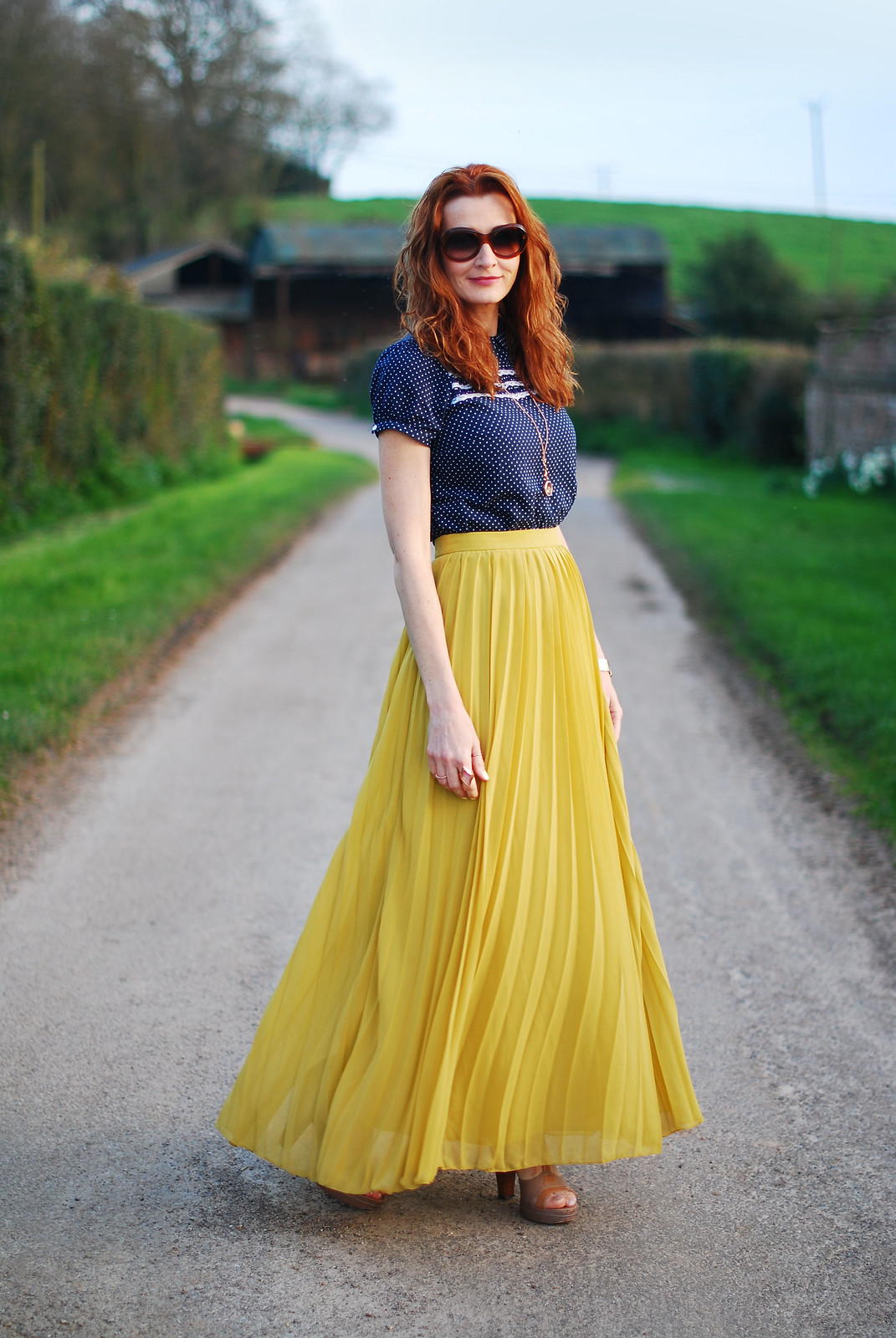 Navy polka dots & mustard yellow pleated skirt