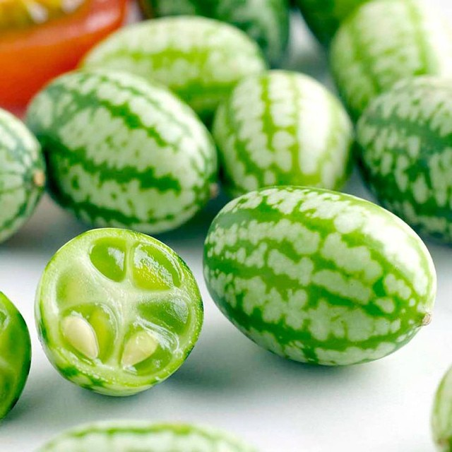 Cucamelons are grape-sized 'watermelons' that taste of pure cucumber with a tinge of lime.