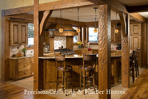 Custom Kitchen In A Timber Frame Home Precisioncraft Tim
