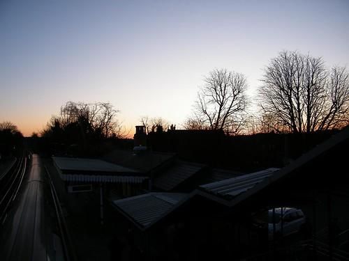Woodside Park station at sunset