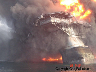 The deepwater horizon taken soon after the explosion in the Gulf. | by Greg Palast