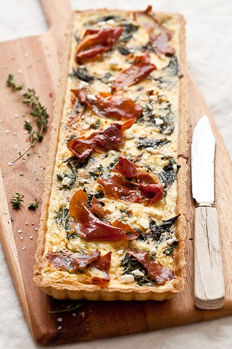 Gluten Free Swiss Chard, Goat Cheese and Prosciutto Tart | by tartelette