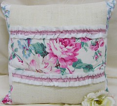 Burlap Ruffle Roses Pillow | by BerryLane
