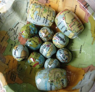 Decoupaged Map Round and Barrel Beads | by Accents & Petals