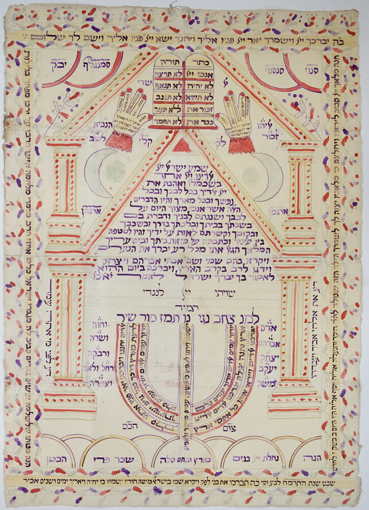 Manuscript [2007.0.49]: Alef Amulet, 'Birth certificate' Amulet with shiviti text (Greece, 1888)