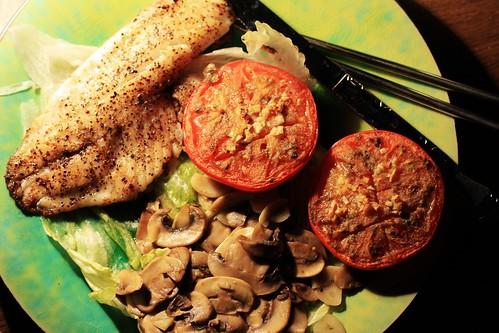 Pan Fried Tilapia, Cumin Garlic Baked Tomato, Mushroom wit ...