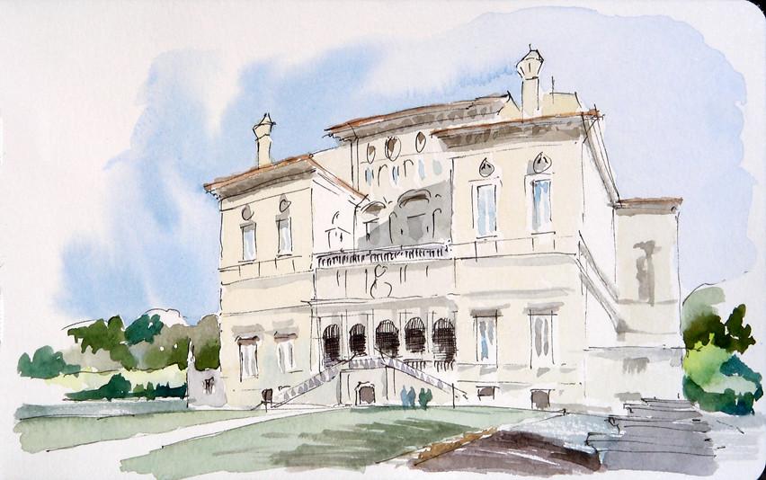Esquisse de la Villa Borghese à Rome par Matthew Brehm @ Flickr