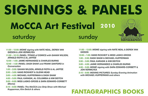 Fantagraphics signing schedule, 2010 MoCCA Art Festival | by fantagraphics